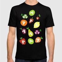 Fruity Unicorns Mens Fitted Tee Black SMALL