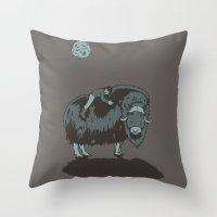 Muskox By Moonlight Throw Pillow