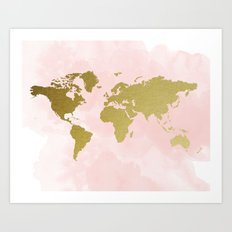 Gold World Map Poster Art Print