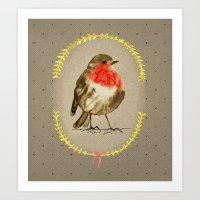 vintage winterbird Art Print