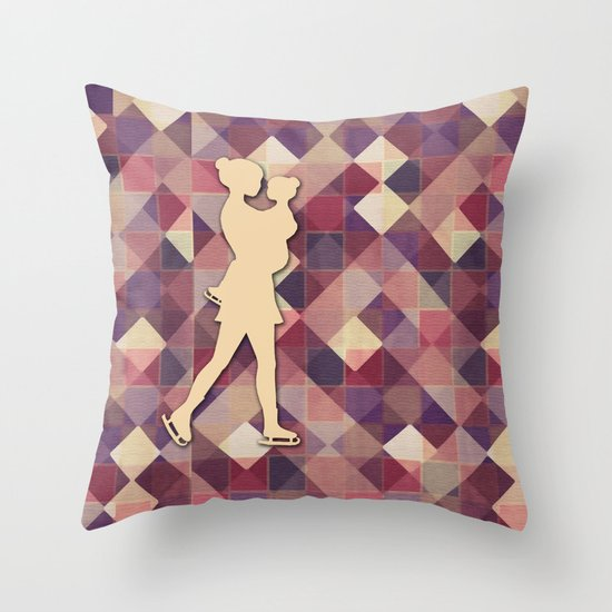 Motherhood - Ice-skating mama and child cut out Throw Pillow