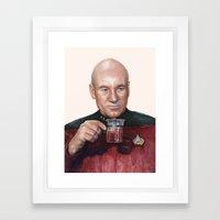Tea. Earl Grey. Hot. Captain Picard Star Trek | Watercolor Framed Art Print
