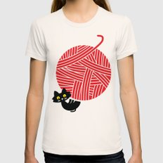Fitz - Happiness (cat and yarn) Womens Fitted Tee Natural SMALL