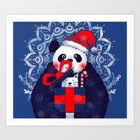 Panda Xmas Gift Art Print