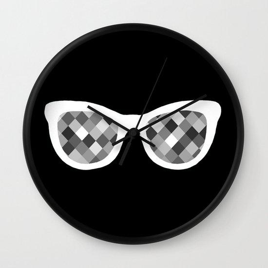 Diamond Eyes White on Black Wall Clock