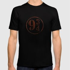 Platform 9 and 3 Quarters Wood Texture Mens Fitted Tee Black SMALL