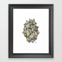 Green Spikes Framed Art Print