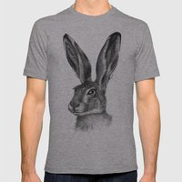 Cute Hare portrait G126 Mens Fitted Tee Athletic Grey SMALL