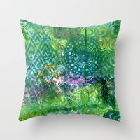 Down in the green Throw Pillow