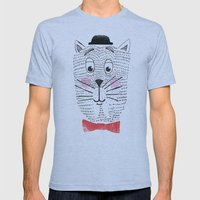 CAT IN A BOWTIE Mens Fitted Tee Athletic Blue SMALL