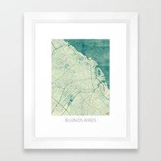 Buenos Aires Map Blue Vintage Framed Art Print