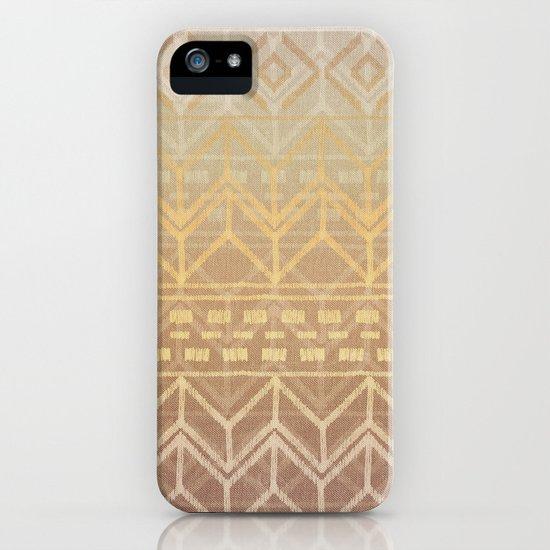 Neutral Tan & Gold Tribal Ikat Pattern iPhone & iPod Case