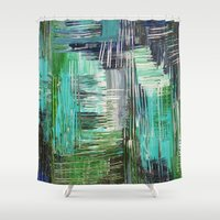AQUATIC COMMOTION In Col… Shower Curtain