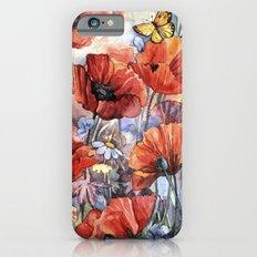 watercolor poppies iPhone 6s Slim Case