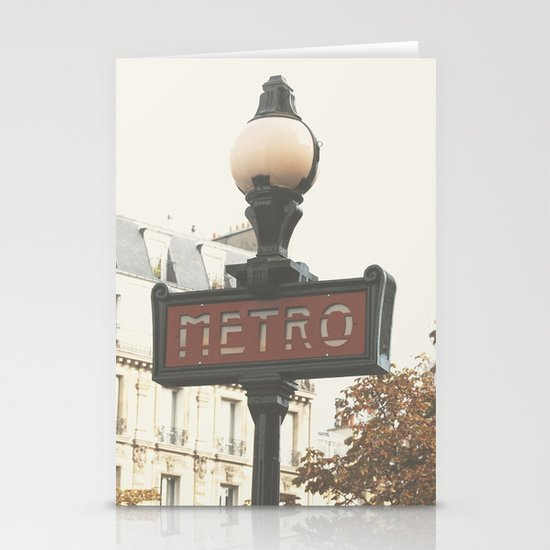 Metro - Paris Sign Photography Stationery Card