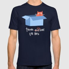 Think inside the box (black background) Mens Fitted Tee Navy SMALL