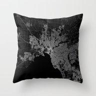 Melbourne Map Australia Throw Pillow