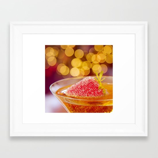 Strawberries and Champagne Framed Art Print