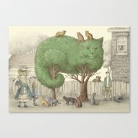 The Night Gardener - Cat Topiary  Canvas Print