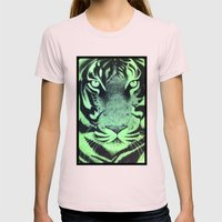 Be A Tiger (Green) Womens Fitted Tee Light Pink SMALL