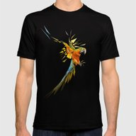 Low Poly Parrot Mens Fitted Tee Black SMALL