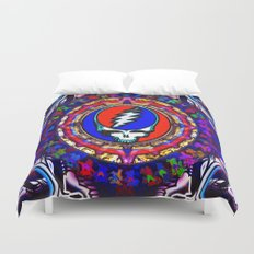Grateful Dead 'Steal Your Face' Colorful Mandala Psychedelic Skeleton Tapestry Duvet Cover