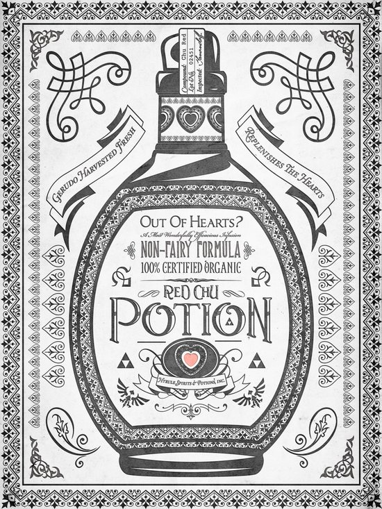 Legend of Zelda Red Potion Vintage Hyrule Line Work Letterpress Art Print