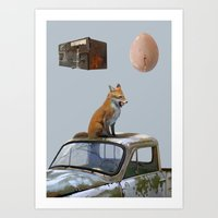 The fox and one egg Art Print