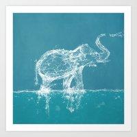 elephant Art Prints featuring Elephant by Paula Belle Flores