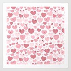 Lovely Hearts Doodle Art Print