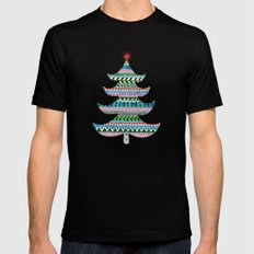 Christmas tree stripe SMALL Mens Fitted Tee Black