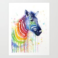Zebra Rainbow Watercolor Art Print