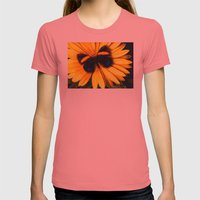 Butterfly on yellow Womens Fitted Tee Pomegranate SMALL