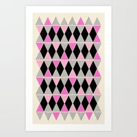 Triangles and lines (pink & grey) Art Print
