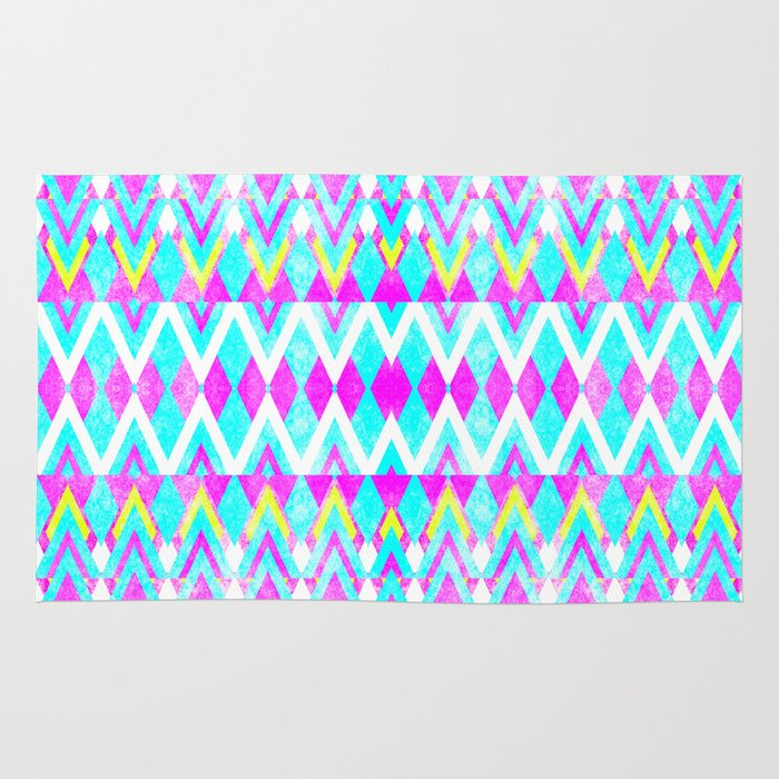 Neon Pink Teal Andes Aztec Triangle Yellow Pattern Rug By