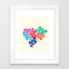 Background of geometric shapes. Colorful mosaic pattern Framed Art Print