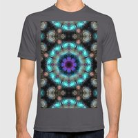 Textured Turquoise Abstr… Mens Fitted Tee Asphalt SMALL