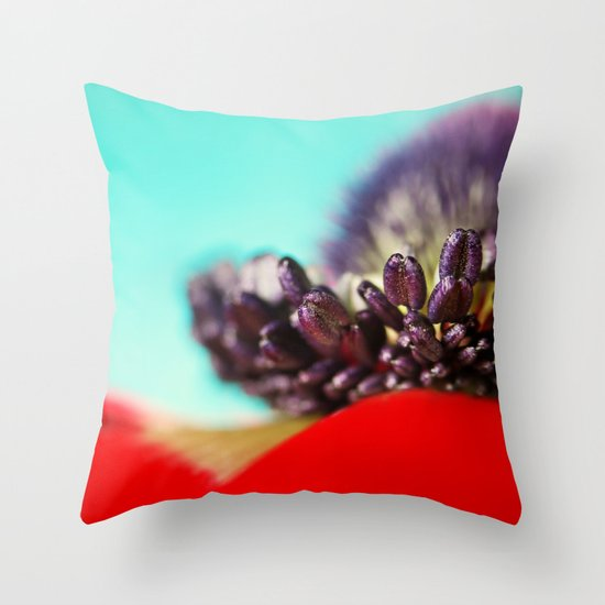 Anemone Red Throw Pillow