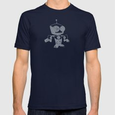 Robot Distressed Mens Fitted Tee Navy SMALL