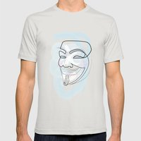 One line mask: V Mens Fitted Tee Silver SMALL