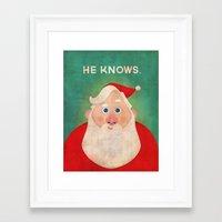 Christmas: He Knows Framed Art Print