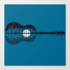 Trees Sea And The Moon T… Canvas Print