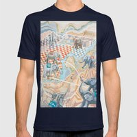 Elephant football game Mens Fitted Tee Navy SMALL