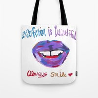 Imperfection Is Beauty Always Smile Tote Bag