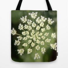 queen lace flowering head. floral garden plant photography. Tote Bag