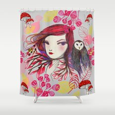 Red Owl Shower Curtain