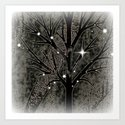 Black frozen winter sparkly night  Art Print