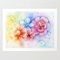 Flowers Watercolor Flora… Art Print