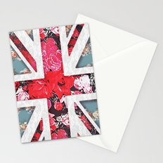 God save the Queen | Elegant girly red floral & lace Union Jack  Stationery Cards