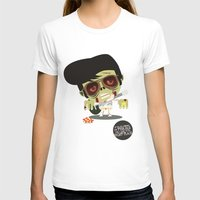 Elvis Zombie Womens Fitted Tee White SMALL